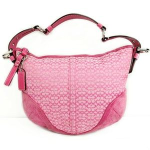 Coach Pink Signature Jacquard Suede Canvas #1460